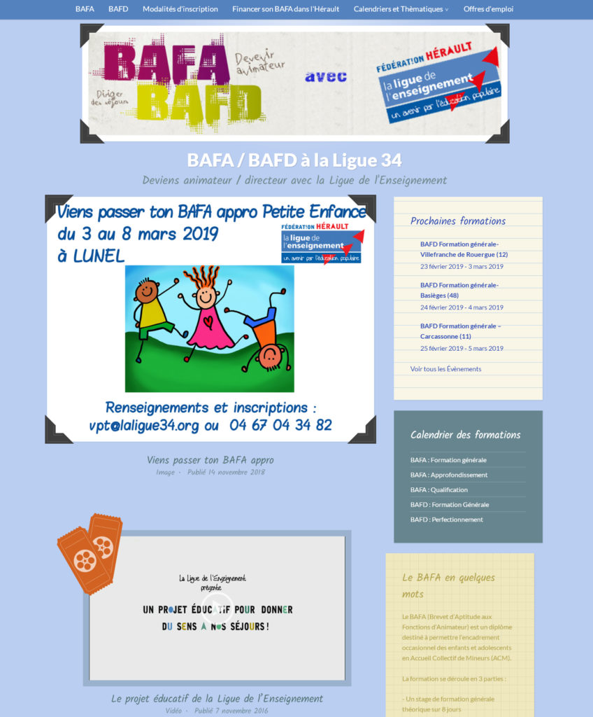 Visitez notre site spécifique au BAFA / BAFD
